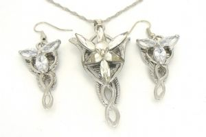 Lord of the Rings Arwen Evenstar Pendant and Earring set  Platinum plate -Prop Replica